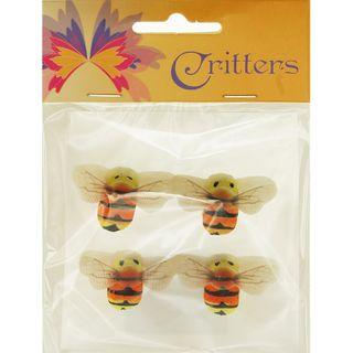 Bees 2.3x4.3cm Yellow Orange Black 4Pcs