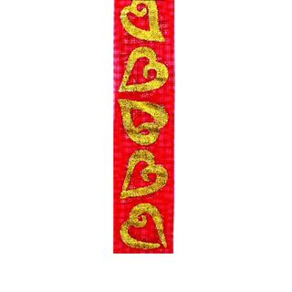 Ribbon 22mm Sheer Red With Gold Heart 3m