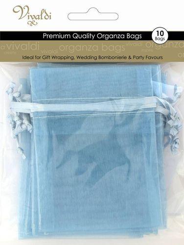 Organza Bag 17x12.5cm Baby Blue Pkt 10