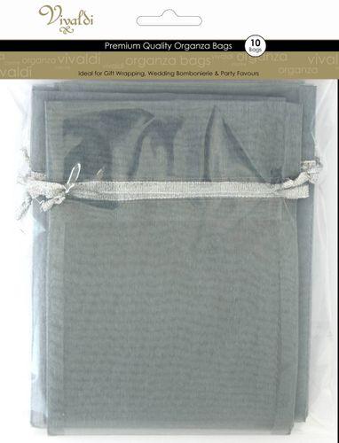 Organza Bag 17x12.5cm Silver Pkt 10