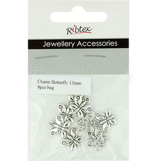 Charm - Butterfly 13mm Dark Silver 8Pcs