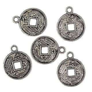 Charm - Coin 15mm Silver 8Pcs