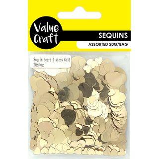 Craft Sequins Heart 2 Sizes Gold 20G