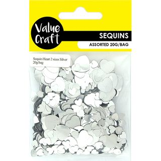 Craft Sequins Heart 2 Sizes Silver 20G