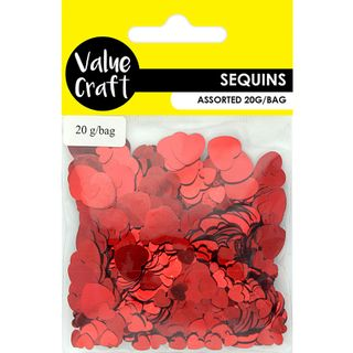 Craft Sequins Heart 2 Sizes Red 20G