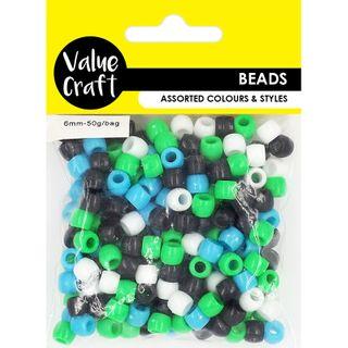 Pony Beads 6mm Blue White Green Black