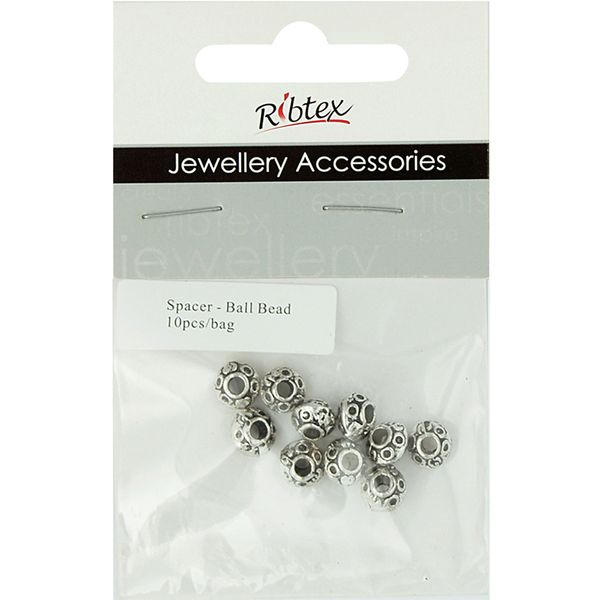 Spacer Ball Bead 8mm Silver 10Pcs