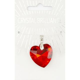 Chinese Crystal Pendant 28mm Red Heart