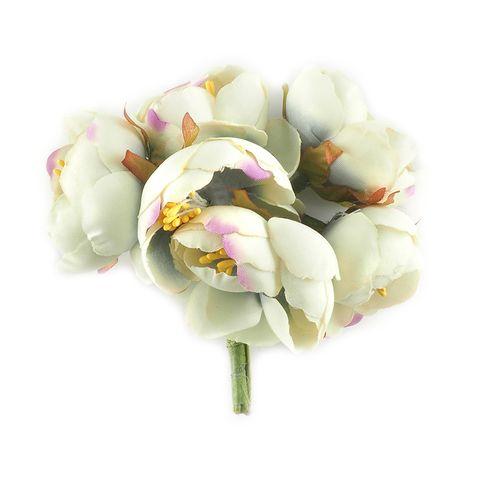 Flower 6Head Fabric Peony 1Bunch