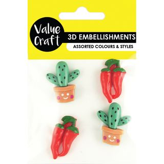 Cactus-Chilli Resin Embellishments 4Pcs