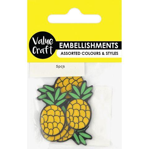 Pineapple Embellishments 5Pcs