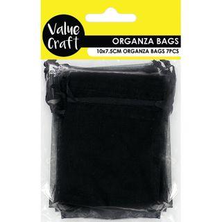Organza Mini 10cmX7.5cm Black 7Pcs