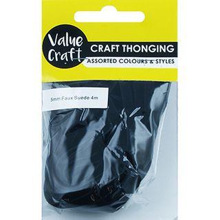 Suede Thonging 5mm Black 4m