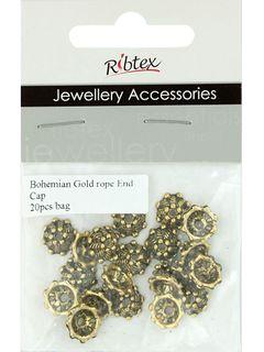 Bead Caps 10mm Rope Boho Gold 20Pcs
