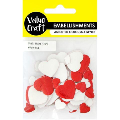 Craft Puffy Shape Hearts 60Pcs
