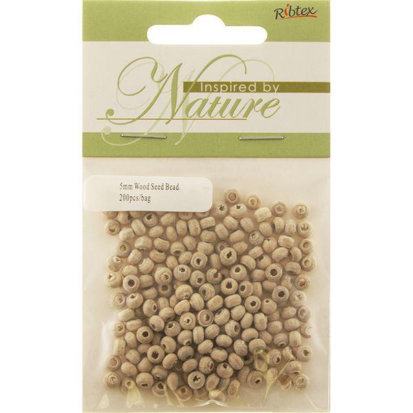 Bead Wood 5mm Seed Natural Non Varnish