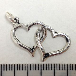 Metal Charms 2Hearts Silver Medium Pkt2