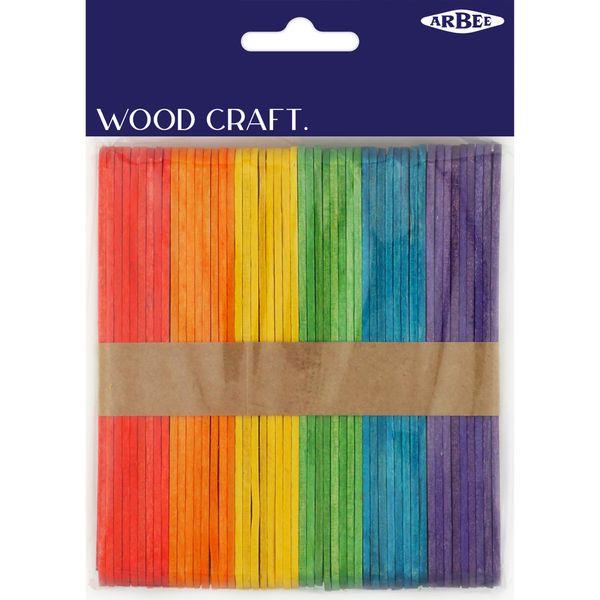 Craft Sticks Coloured 10mmx11cm Pkt 150