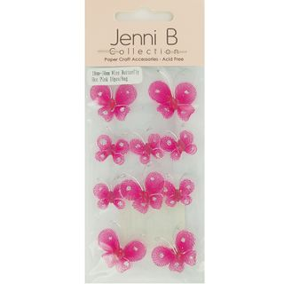 EMB WIRE BUTTERFLY 2 SIZES HOT PINK 10PC