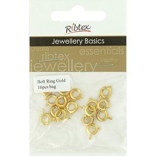 JF CLASP BOLT RING 8MM GOLD 16PCS