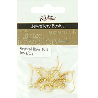 Earring Shepherd Hooks Gold 10Pcs