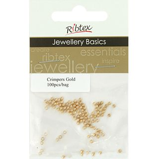 JF CRIMPERS ROUND 2MM GOLD 100PCS