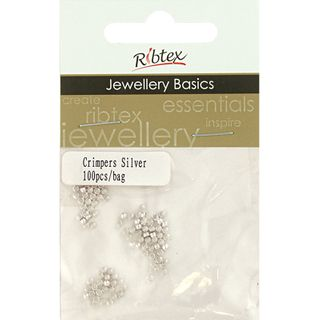 JF CRIMPERS ROUND 2MM SILVER 100PCS