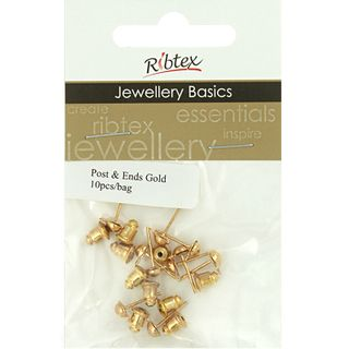JF EARRING POST AND ENDS 10MM GLD 10SETS