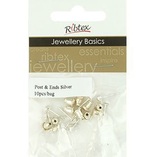 JF EARRING POST AND ENDS 10MM SLV 10SETS