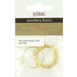 Jf Acc Wine Glass Ring Gold 6 Pcs