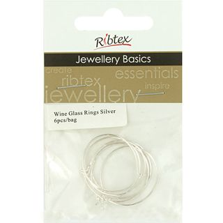 JF ACC WINE GLASS RING SILVER 6 PCS