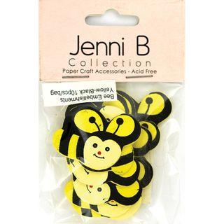 EMB WOOD BEES YELLOW-BLK 10PCS