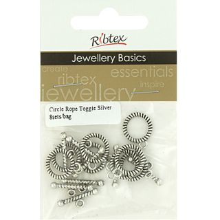 Clasp Toggle 12mm Rope Silver 8 Sets