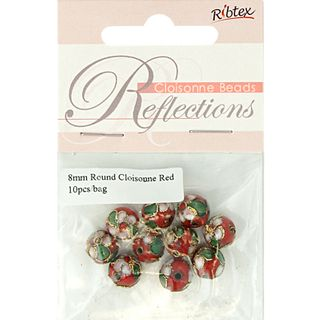 Bead Cloisonne Round 8mm Red 10Pcs