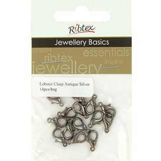 JF CLASP LOBSTER 11MM ANT SILVER 14PCS