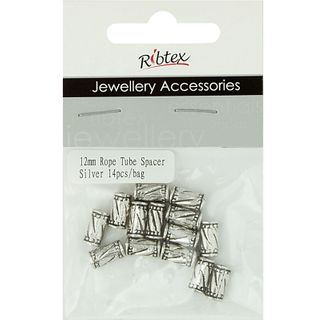Jf Spacer 12Mm Rope Tube Silver 14Pcs
