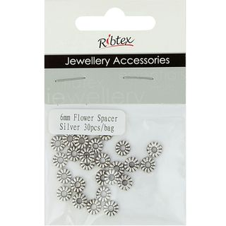 Jf Spacer 6Mm Flower Silver 30Pcs