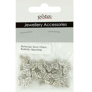 Jf Spacer Butterfly 12X14 Mm Silver 16Pc