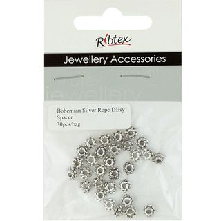 Jf Spacer 5Mm Rope Daisy Silver 30Pcs