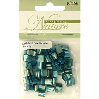 BEAD SHELL CUBE SMALL TURQUOISE 48PCS