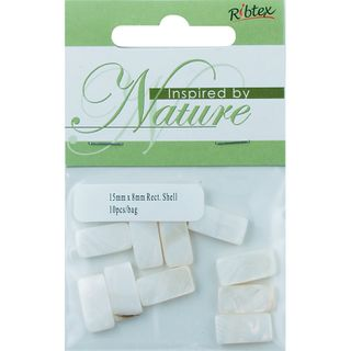 BEAD SHELL 15X8MM RECT NATURAL 10PC