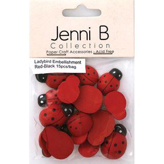 EMB WOOD LADYBIRDS RED-BLK 15PCS