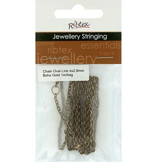 Chain Straight Oval Link 4x3mm Gold 1m