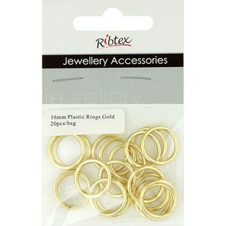 JF FEATURE PLASTIC RINGS 16MM GOLD 20PCS