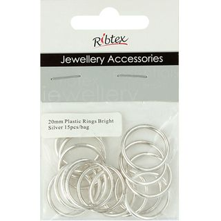 JF FEATURE PLASTIC RINGS 20MM B-SLV 15PC