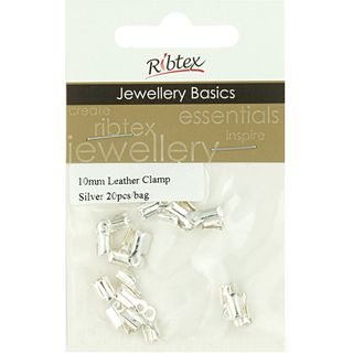 JF LEATHER CLAMP 10MM SILVER 20PCS