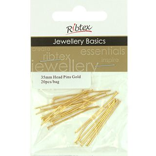 Head Pins 35mm Gold 20Pcs