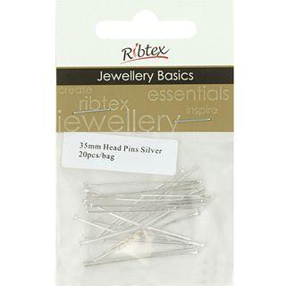Head Pins 35mm Silver 20Pcs