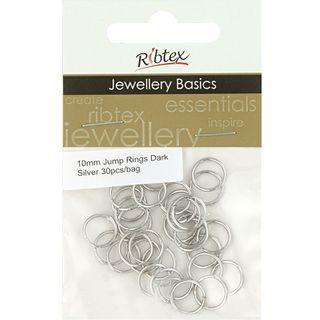 Jump Rings 10mm Dark Silver 30Pcs