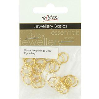Jump Rings 10mm Gold 30Pcs